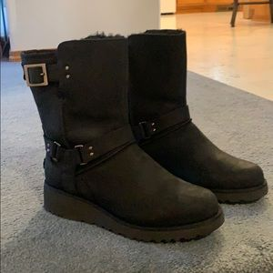 Ugg Black Leather Waterproof Boot